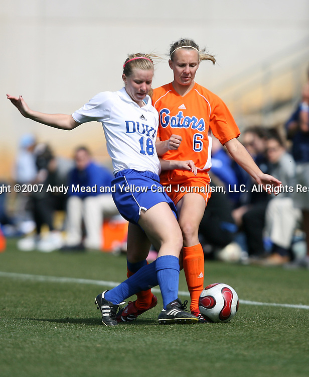 Duke's Kelly McCann (18) and Florida's Jessica Eicken (6) on Saturday, March 3rd, 2007 on Field 1 at SAS Soccer Park in Cary, North Carolina. The University of Florida Gators played the Duke University Blue Devils in an NCAA Division I Women's Soccer spring game.