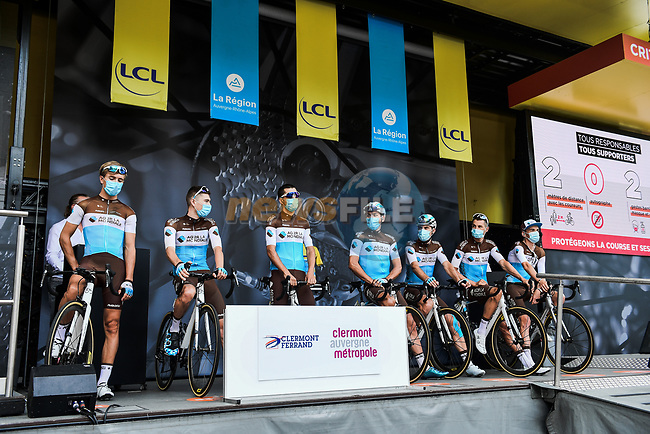AG2R La Mondiale at the Team Presentation before the start of Stage 1 of Criterium du Dauphine 2020, running 218.5km from Clermont-Ferrand to Saint-Christo-en-Jarez, France. 12th August 2020.<br /> Picture: ASO/Alex Broadway | Cyclefile<br /> All photos usage must carry mandatory copyright credit (© Cyclefile | ASO/Alex Broadway)