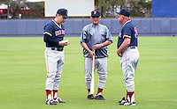 Boston Red Sox coaches Rico Petrocelli, Frank Malzone and Don Zimmer during spring training circa 1992 at Chain of Lakes Park in Winter Haven, Florida.  (MJA/Four Seam Images)