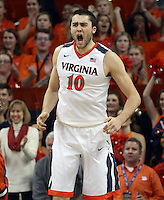 Virginia center Mike Tobey (10) reacts to a play during an ACC basketball game Tuesday Jan. 19, 2016, in Charlottesville, Va. Virginia  defeated Clemson  69-62. (Photo/Andrew Shurtleff)