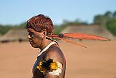 Xingu Indigenous Park, Mato Grosso State, Brazil. Aldeia Waura. Payapakuma, a Waura elder, during a funeral festival.