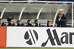20 October 2012: Germany head coach Silvia Neid (GER) (right) paces in front of the bench. The United States Women's National Team played the Germany Women's National Team at Toyota Park in Bridgeview, Illinois in a women's international friendly soccer match. The game ended in a 1-1 tie.