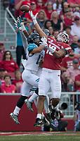 NWA Democrat-Gazette/CHARLIE KAIJO Arkansas Razorbacks wide receiver Jordan Jones (10) misses a pass intended for him during a football game on Saturday, November 4, 2017 at Razorback Stadium in Fayetteville