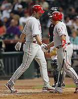 Philadelphia Phillies OF Pat Burrell scores after his pinch hit HR on Thursday May 22nd at Minute Maid Park in Houston, Texas. Photo by Andrew Woolley / Four Seam Images.