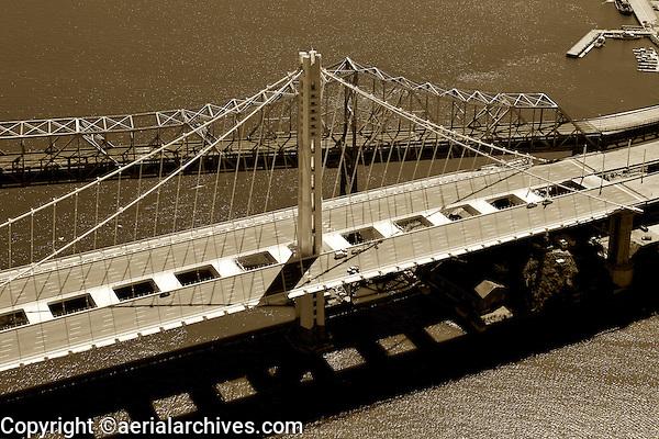 aerial photograph old and new eastern span San Francisco Oakland Bay Bridge