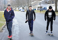SEGAN13P<br /> From left, international students Jack Fu, Arthur Pu and Hank Chen skateboarding near the monastery where they are staying at Conwell-Egan Catholic High School Friday March 4, 2016 in Fairless Hills, Pennsylvania. (William Thomas Cain/For The Inquirer)