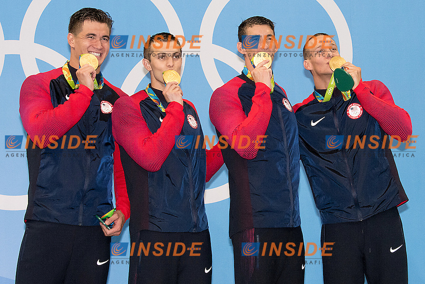 Team USA Adrian Nathan, Held Ryan, Phelps Michael, Dressel Caeleb <br /> 4x100 freestyle men<br /> Rio de JaneiroXXXI Olympic Games <br /> Olympic Aquatics Stadium <br /> Swimming finals 07/08/2016<br /> Photo Giorgio Scala/Deepbluemedia/Insidefoto