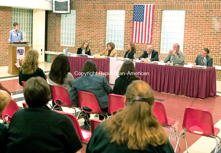 SOUTHBURY, CT-- 25 OCTOBER 2007--102507JS07-Region 15 Board of Education candidate from Southbury, at table from left, Eileen M. Strange, Sharon M. Elias,  Sharon L. Lawler-Guck, Francis D. Pellegrini, John E. Reilly and Vincenzo Toscano answered questions from residents during the &quot;Meet the Candidates&quot; forum held Thursday at Pomperaug High School in Southbury. The event was sponsored by the Region 15 PTO Advisory Council.<br /> Jim Shannon / Republican-American