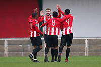 Hornchurch players celebrate their first goal, an own goal during AFC Hornchurch vs Waltham Abbey, Bostik League Division 1 North Football at Hornchurch Stadium on 13th January 2018