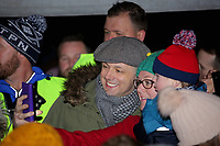 Pictured: Actor Michael Sheen has selfies taken with local people at the Christmas Lights switch on in Ystradgynlais, Wales, UK.<br />