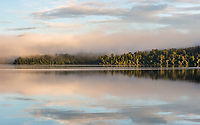 Misty winter morning with sunrise at Lake Mapourika, Westland National Park, West Coast, World Heritage Area, South Westland, New Zealand