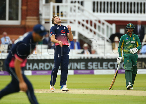 May 29th 2017, Lords, London, England, One Day International Cricket, England versus South Africa; Bowler David Willey of England reacts after an edge goes for 4 runs