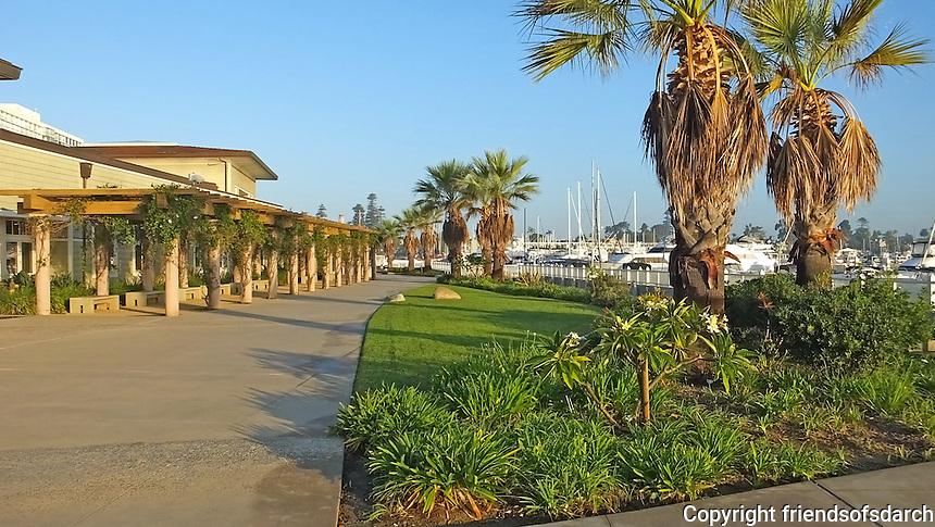 Coronado City Hall and Community Center, Coronado, CA. Overlooks Glorietta Bay. Wide walkway with native plants and greenery. Patricia Trauth, Landscape Architect.