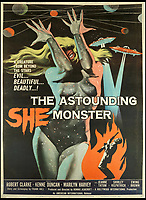 BNPS.co.uk (01202 558833)<br /> Pic: Bonhams/BNPS<br /> <br /> The Astounding She Monster, 1958, estimate &pound;1,200.<br /> <br /> A wacky collection of sci-fi and horror genre B movie posters from the 'Golden Age of Hollywood' have emerged for sale. <br /> <br /> The 15-strong assortment of obscure advertisements spans from 1933 until 1966 and are worth up to &pound;5,000 each. <br /> <br /> B movies were characterised by their low-budget and extravagant posters, which were often better received than the actual film. <br /> <br /> The most expensive is an 83ins by 39ins poster for the 1933 film Ghoul, which is expected to fetch &pound;5,000. <br /> <br /> The posters have been consigned to auction by a selection of UK sellers to auctioneer Bonhams.