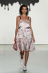 "Model walks runway in an outfit from the Jia Liu Spring Summer 2018 ""Comme Tu Es"" collection at Skylight Clarkson Square on September 13, 2017 during NYFW: The Shows Spring Summer 2018."