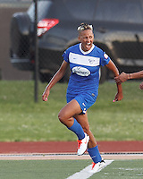 Boston Breakers forward Lianne Sanderson (10) celebrates her goal. In a National Women's Soccer League Elite (NWSL) match, the Boston Breakers (blue) tied Western New York Flash (white), 2-2, at Dilboy Stadium on June 5, 2013.