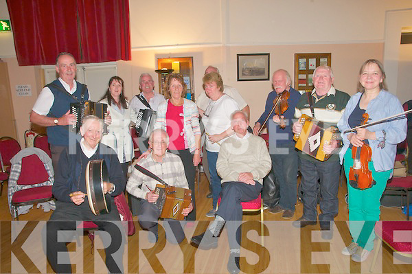 75th Birthday : Tom Donovan,seated , Tarbert celebrating his 75th birthday with the musicians at the i Rambling House at the Seanchai Centre, Listowel on Thursday night last.