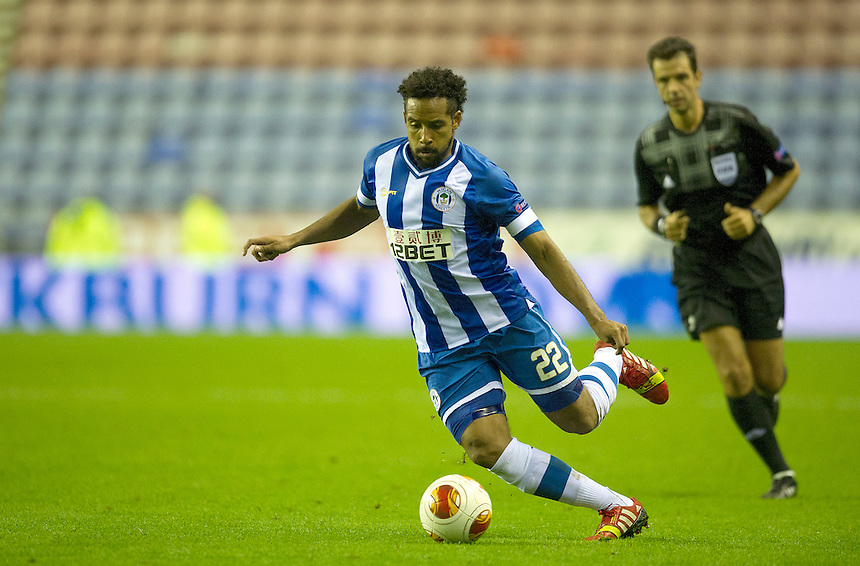 Wigan Athletic's Jean Beausejour<br /> <br /> Photo by Stephen White/CameraSport<br /> <br /> Football - Europa League Group D - Wigan Athletic v Maribor - Thursday 3rd October 2013 - DW Stadium - Wigan<br /> <br /> &copy; CameraSport - 43 Linden Ave. Countesthorpe. Leicester. England. LE8 5PG - Tel: +44 (0) 116 277 4147 - admin@camerasport.com - www.camerasport.com
