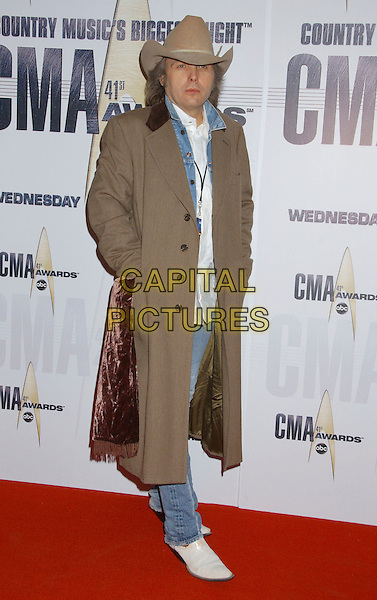 DWIGHT YOAKAM.2007 CMA Awards, Country Music's Biggest Night, held at the Sommet Center, Nashville, Tennessee, USA. .November 7th, 2007.full length yoakum brown coat hat beige hands in pockets.CAP/ADM/LF.©Laura Farr/AdMedia/Capital Pictures.