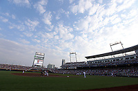 A general view of TD Ameritrade Park during Game 2 of the 2014 Men's College World Series between the Vanderbilt Commodores and Louisville Cardinals at TD Ameritrade Park on June 14, 2014 in Omaha, Nebraska. (Brace Hemmelgarn/Four Seam Images)