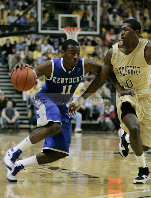 Freshman guard John Wall dribbles to the basket in the second half of UK's 58-56 win over  Vandy at Memorial Gymnasium in Nashville on Saturday, Feb. 20. 2010. Photo by Britney McIntosh | Staff