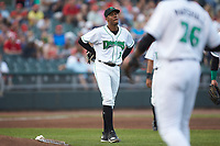 Dayton Dragons starting pitcher Hunter Greene (3) walks behind the mound after having been hit by a line drive during the game against the Bowling Green Hot Rods at Fifth Third Field on June 9, 2018 in Dayton, Ohio. The Hot Rods defeated the Dragons 1-0.  (Brian Westerholt/Four Seam Images)