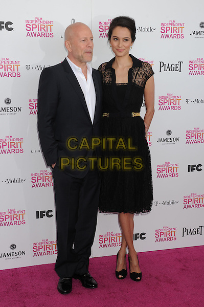 Bruce Willis, Emma Heming.2013 Film Independent Spirit Awards - Arrivals held at Santa Monica Beach..Santa Monica, California, USA,.23rd February 2013..indy indie indies indys full length black  suit white shirt lace dress husband wife married shirt     .CAP/ROT/TM.©Tony Michaels/Roth Stock/Capital Pictures