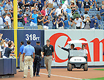 Hideki Matsui,<br /> JULY 28, 2013 - MLB :<br /> Hideki Matsui waves to fans from a cart as he enters the stadium for his official retirement ceremony before the Major League Baseball game against the Tampa Bay Rays at Yankee Stadium in The Bronx, New York, United States. (Photo by AFLO)