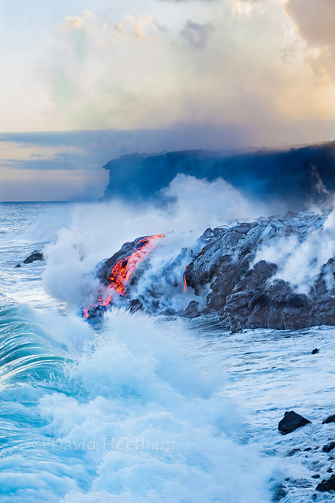 The Pahoehoe lava flowing from Kilauea has reached the Pacific ocean near Kalapana, Big Island, Hawaii.