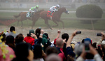 BALTIMORE, MD - MAY 19: Justify, #7, ridden by jockey Mike Smith, wins the Preakness Stakes at Pimlico Race Course on May 19, 2018 in Baltimore, Maryland (Photo by Ting Shen/Eclipse Sportswire/Getty Images)