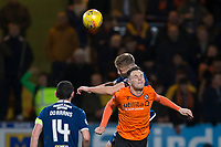 8th November 2019; Dens Park, Dundee, Scotland; Scottish Championship Football, Dundee Football Club versus Dundee United; Sean Mackie of Dundee competes in the air with Lawrence Shankland of Dundee United  - Editorial Use