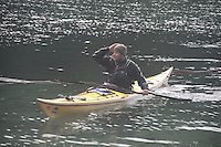 Jason Fresh from an Eskimo Roll at Smallpox Bay, San Juan Island, Washington, US