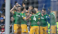 Preston North End's Jayden Stockley celebrates scoring his side's first goal with his team mates <br /> <br /> Photographer Rob Newell/CameraSport<br /> <br /> The EFL Sky Bet Championship - Queens Park Rangers v Preston North End - Saturday 19 January 2019 - Loftus Road - London<br /> <br /> World Copyright &copy; 2019 CameraSport. All rights reserved. 43 Linden Ave. Countesthorpe. Leicester. England. LE8 5PG - Tel: +44 (0) 116 277 4147 - admin@camerasport.com - www.camerasport.com