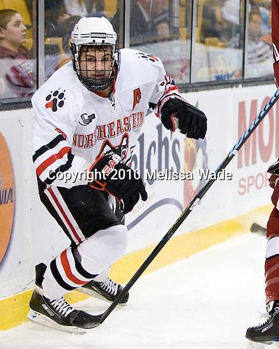 Chris Donovan (NU - 23) - The Northeastern University Huskies defeated the Harvard University Crimson 4-1 (EN) on Monday, February 8, 2010, at the TD Garden in Boston, Massachusetts, in the 2010 Beanpot consolation game.