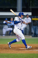 Chris DeVito (34) of the Burlington Royals follows through on his swing against the Kingsport Mets at Burlington Athletic Stadium on July 18, 2016 in Burlington, North Carolina.  The Royals defeated the Mets 8-2.  (Brian Westerholt/Four Seam Images)