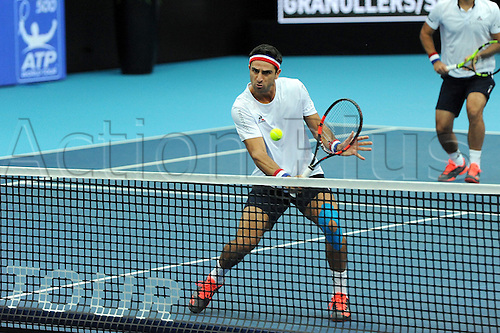 25.10.2016.  St. Jakobshalle, Basel, Switzerland. Basel Swiss Indoors Tennis Championships. Day 2. Robert Farah in action in the match between Jack Sock of the United States of America and Marcel Granollers of Spain against Juan Sebastian Cabal of Colombia and Robert Farah of Colombia