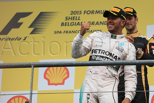 23.08.2015. Spa Francorchamps, Belgium. Formula One World Championship Grand Prix. Race day.  Mercedes AMG Petronas driver Lewis Hamilton on the podium as he takes 1st place