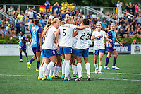 Allston, MA - Sunday July 31, 2016: Natasha Dowie celebrates scoring, Kassey Kallman, Brooke Elby during a regular season National Women's Soccer League (NWSL) match between the Boston Breakers and the Orlando Pride at Jordan Field.