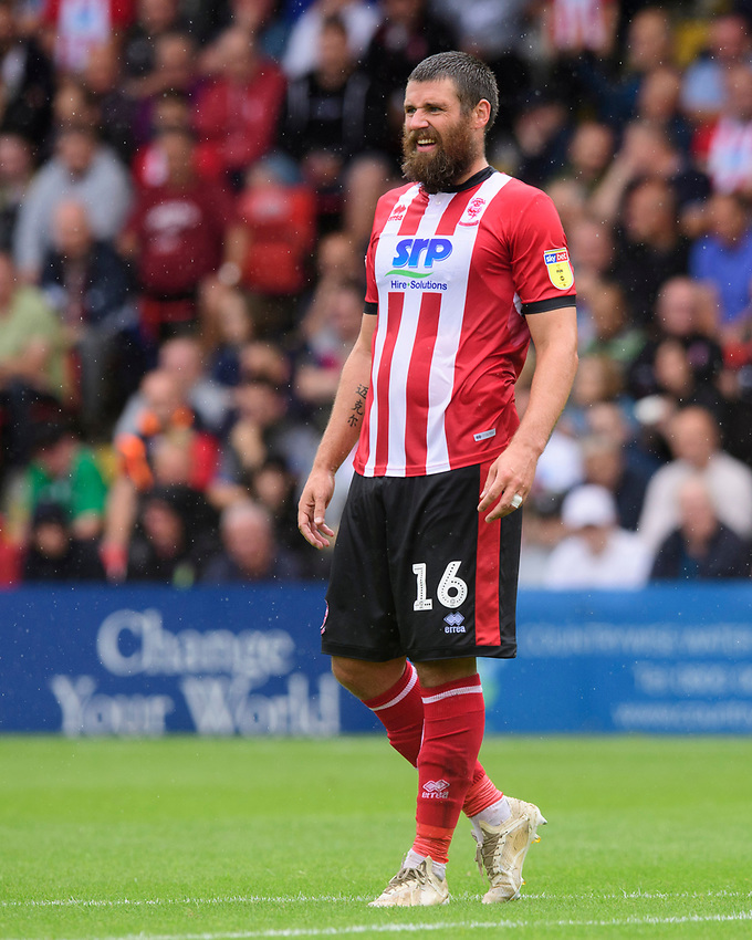 Lincoln City's Michael Bostwick<br /> <br /> Photographer Chris Vaughan/CameraSport<br /> <br /> The EFL Sky Bet League One - Lincoln City v Fleetwood Town - Saturday 31st August 2019 - Sincil Bank - Lincoln<br /> <br /> World Copyright © 2019 CameraSport. All rights reserved. 43 Linden Ave. Countesthorpe. Leicester. England. LE8 5PG - Tel: +44 (0) 116 277 4147 - admin@camerasport.com - www.camerasport.com