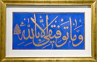 Türkei, im Sakip Sabaci Müzezi am Bosporos in Emirgan bei Istanbul, Kalligraphie von Sulten Mahmud II (1808-1839)