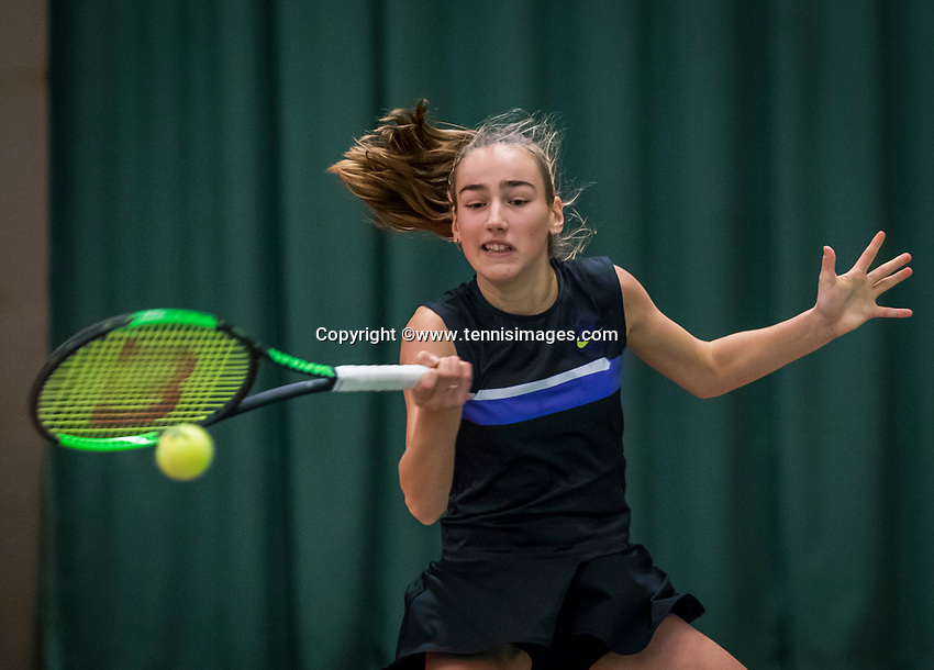 Wateringen, The Netherlands, December 8,  2019, De Rhijenhof , NOJK juniors 14 and18 years, Finals girls 14 years Annelin Bakker (NED)<br /> Photo: www.tennisimages.com/Henk Koster