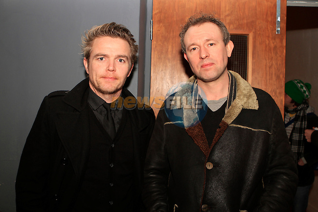 """Patrick O'Donnell and Steve Gunn at the Screening of Frank Kelly's Film """"Derelict"""" in the Droichead Arts Centre...Photo NEWSFILE/Jenny Matthews..(Photo credit should read Jenny Matthews/NEWSFILE)"""