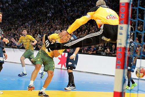 11.01.2017. Accor Arena, Paris, France. 25th World Handball Championships France versus Brazil. Joao Pedro Silva Brazil and Thierry Omeyer France in action