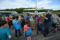 NWA Democrat-Gazette/ANDY SHUPE<br /> Volunteer interpreter Jeff Gates speaks Tuesday, May 14, 2019, with students from Lowell Elementary School as they tour the Arkansas Air and Military Museum in Fayetteville. The students spent the morning learning about flight and the history of aviation in Northwest Arkansas.
