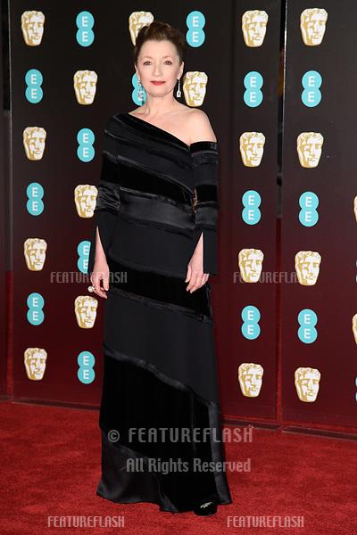 Lesley Manville arriving for the BAFTA Film Awards 2018 at the Royal Albert Hall, London, UK. <br /> 18 February  2018<br /> Picture: Steve Vas/Featureflash/SilverHub 0208 004 5359 sales@silverhubmedia.com