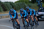 Movistar Team Women in action during Stage 1 of the Madrid Challenge by La Vuelta, a team time trial running 12.6km from Boadilla del Monte to Boadilla del Monte, Spain. 15th September 2018.                   <br /> Picture: Unipublic/Vicent Bosch | Cyclefile<br /> <br /> <br /> All photos usage must carry mandatory copyright credit (&copy; Cyclefile | Unipublic/Vicent Bosch)