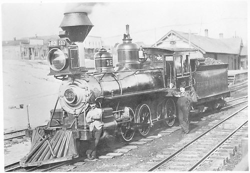 3/4 fireman's-side view of D&amp;RG Ten-Wheeler #163 posing with her crew near the Chama depot.<br /> D&amp;RG  Chama, NM  ca. 1890