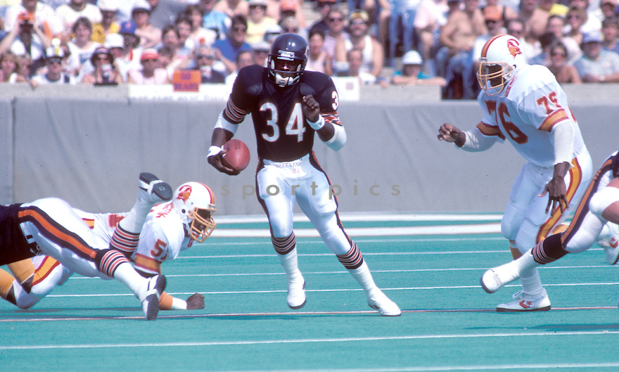 Chicago Bears Walter Payton (34) in action during a game against the Tampa Bay Buccaneers at Soldier Field in Chicago, Illinois.  Walter Payton was inducted to the Pro Football Hall of Fame in 1993