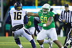 Oct 07, 2015; Eugene, OR, USA; Oregon Ducks defensive lineman Austin Maloata (50) rushes towards California Golden Bears quarterback Jared Goff (16) at Autzen Stadium. <br /> Photo by Jaime Valdez