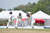 Max Holden of Middlesex CCC in the way of Joe Weatherley cover drive during Middlesex CCC vs Hampshire CCC, Bob Willis Trophy Cricket at Radlett Cricket Club on 11th August 2020